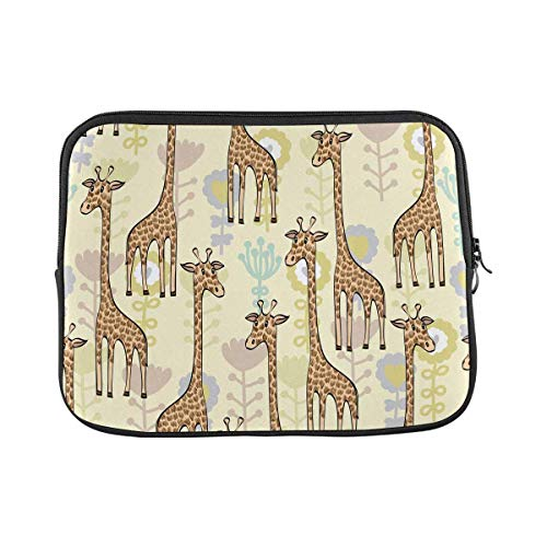 INTERESTPRINT Laptop Protective Carrying Bag Cute Babies Doodle Giraffe Pastel Notebook Sleeve Pouch Case Bag 17 Inch 17.3 Inch