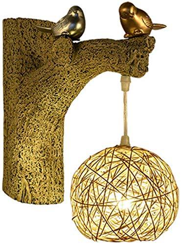Luces de pared industriales, Lámpara de muro de ratán retro pájaro nido tejido lámpara pámpara escoce luz e27 creativo resina árbol árbol root soportes ligero sala de estar dormitorio noche lámpara de