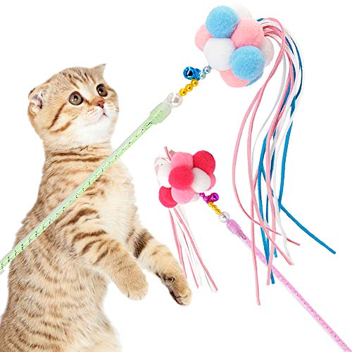 Cat Toys Interactive Cat Wands Teaser 2 PCS Kitten Toys Cat Stick with Balls Bells and Tassel for Cat Kitten Having Fun Exercise Playing