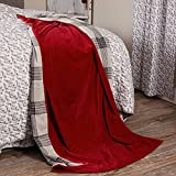 Twilight Red Velvet Throw Blanket, Extra Large, 70' x 50', Crushed Cotton Velvet, Reverses to Gray Plaid, Holiday, Christmas or Everday Décor