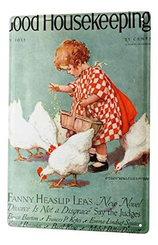 LEotiE SINCE 2004 Blechschild Dekoschild Küche Garage Kinderzimmer Wand Deko kleines Mädchen füttert Hühner Metallschild 20X30 cm