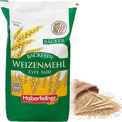 Weizenmehl 25 kg Typ 1050 von Haberfellner | Dunkles Mehl für Brot und Gebäck | Ohne Gentechnik und pestizid-kontrolliert | Geeignet als Brotmehl