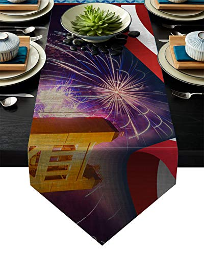 PIEPLE Cotton Linen Table Runners Dresser Scarves - American Flag Sacramento Bridge and Fireworks - Tabletop Collection for Family Dinners/Weddings/Party and Everyday Use 16'x72'