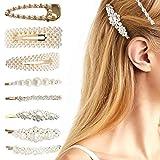 Horquillas de perlas para cabello grueso Mujeres Chicas Dama, Moda elegante Perla blanca Clips de flores Barrettes para el peinado (8PCS, Oro)