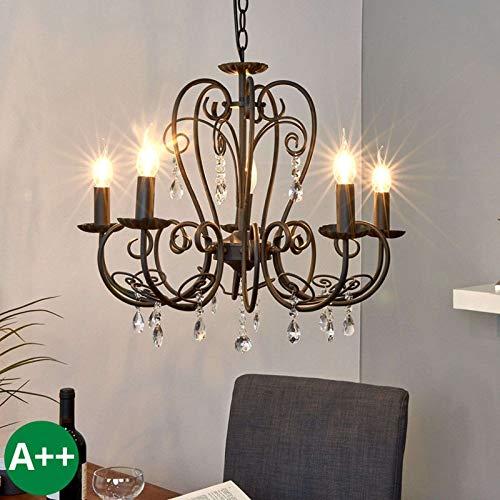 Lindby Kronleuchter 'Sophina' dimmbar (Retro, Vintage, Antik) in Schwarz aus Metall u.a. für Wohnzimmer & Esszimmer (5 flammig, E14, A++) - Pendelleuchte, Hängelampe, Lüster, Lampe, Deckenleuchte
