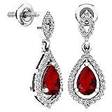Dazzlingrock Collection 6X4 MM Each Pear Garnet & Round White Diamond Ladies Teardrop Dangling Drop Earrings, Sterling Silver