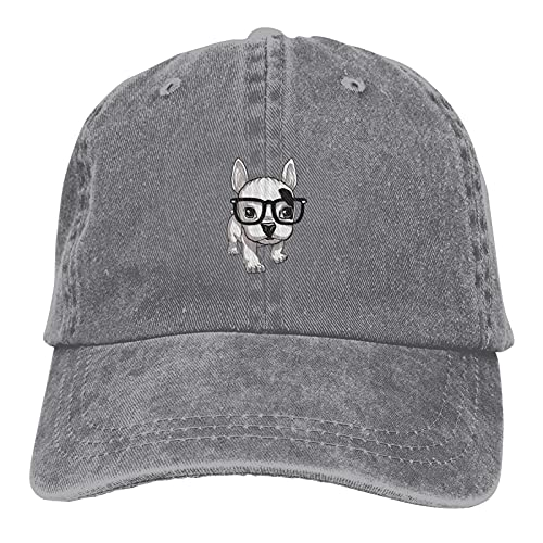 Lovely Striped Frenchie Puppy Cap Adjustable Retro Polo Hats Classic Baseball Cap for Man's Woman's Gray
