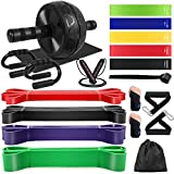 Odoland 20-in-1 Pull Up Assist Bands Ab Roller Wheel Set with 4 Resistance Bands, Loop Bands, Ab...