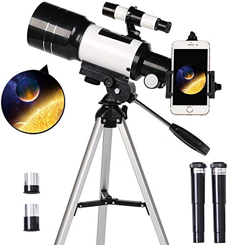 Telescope for Kids& Beginners, 70mm Aperture 300mm Astronomical Refractor Telescope, Tripod& Finder Scope- Portable Travel Telescope with Smartphone Adapter and Wireless Remote