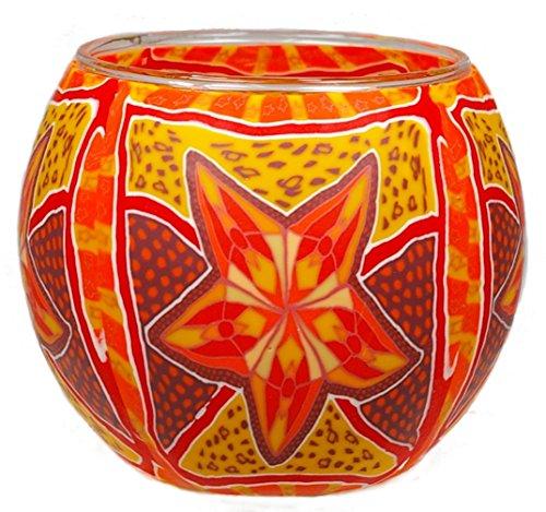 Himmlische Düfte Geschenkartikel GmbH Red Star Windlicht, Glas, bunt, 11x11x9 cm