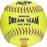 Rawlings Sporting Goods C12RYLAH Official ASA Dream Seam Fast Pitch Softballs (One Dozen), Yellow, Size 12