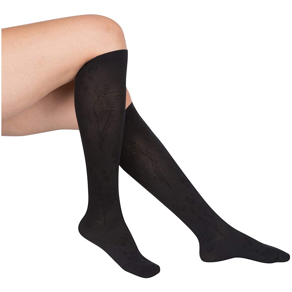 EvoNation Women's Floral Pattern USA Made Graduated Compression Socks 15-20 mmHg Moderate Pressure Medical Quality Ladies Knee High Support Stockings, Best Comfort Fit Circulation Hose (XL, Black)