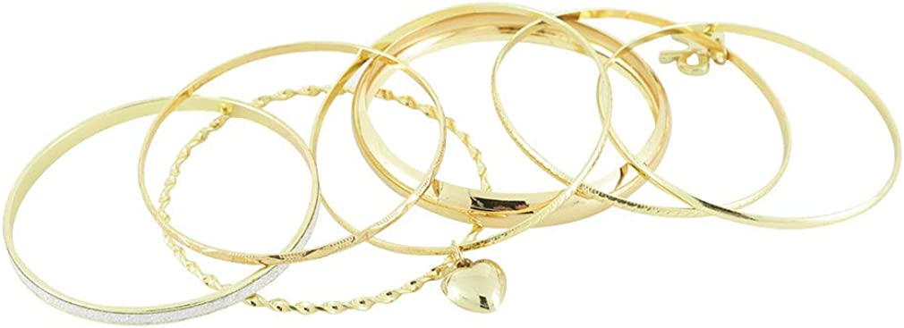 Items 4 U! Gold Bangle Bracelet Set with Bow and Heart Charms, [6 Pieces] 2.75Ó Inch Stackable Bangles
