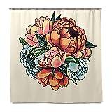 Rideau de douche Serenasyoung - Imperméable - Résistant à la moisissure - Antibactérien - Vintage - Bouquet de fleurs - Avec crochets, Multicolore, 60x72 inch