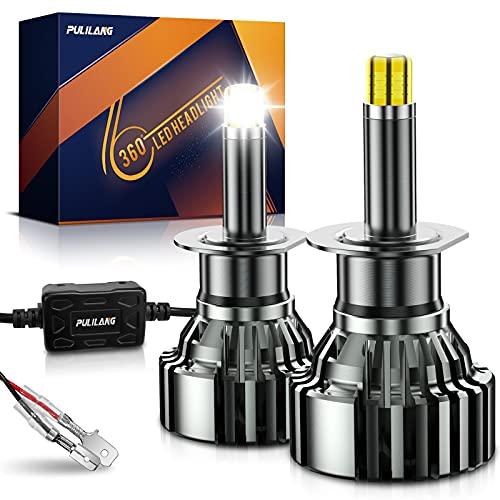 Pulilang LED Phare Ampoule Voiture Led H1 360°Lampe de Voiture Feu de Route Feux De Croisement Feux Antibrouillard Le Plus Récent 6 Côtés 18 PCS CSP Puces 60W 6000K LED Phare Ampoules 16000LM