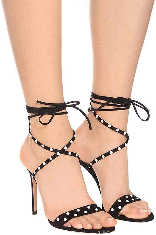 GHFJDO Damen Niet Peep Toe Sandalen, schwarz Snake Spiral Leg-Wrap High Heels Schuhe, Cross Strap Open Toe Pfennigabsatz Schuhe