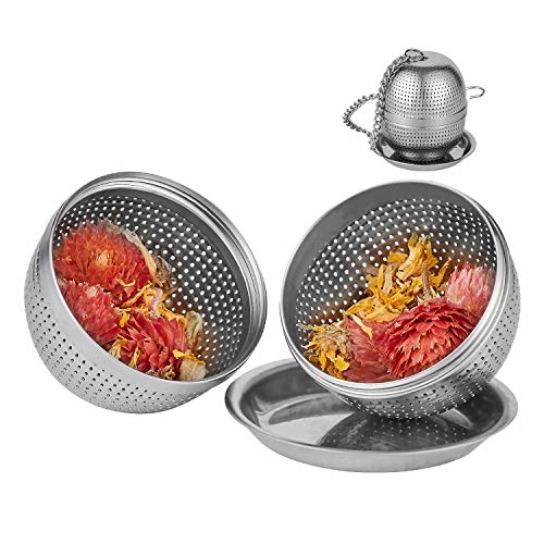 YEOSEN Tea Infuser Ball – Tea Strainer Ball for Loose Leaf Tea, Spice Infuser Stainless Steel Mesh, Fine Threaded Connection, 4.3 inch Chain with Drip Tray
