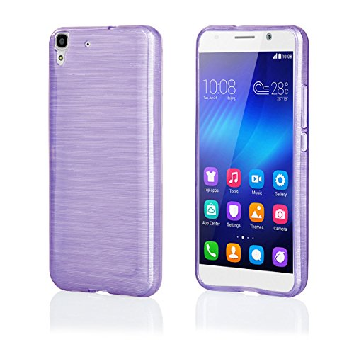 EGO® siliconen hoesje (voor Huawei Y6, violet transparant) cover, tas, etui, schaal, metallic effect