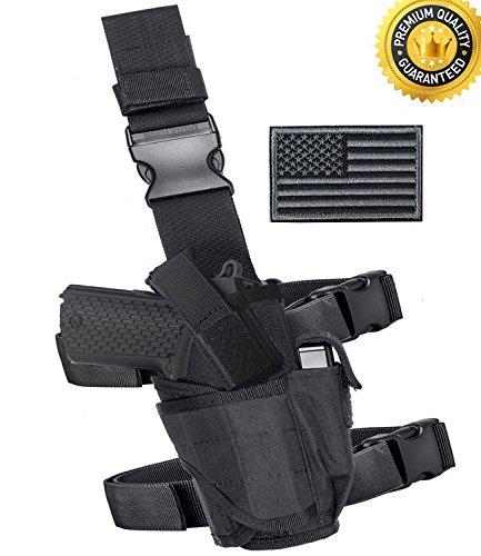 Carlebben Drop Leg Holster Molle Airsoft Holster Thigh Pistol Gun Holster Tactical Adjustable Right Handed (Black)