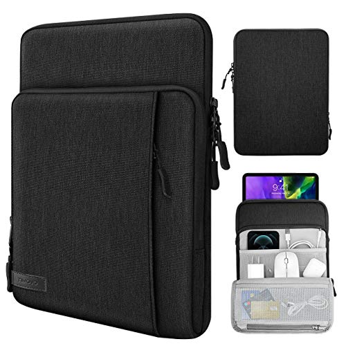 TiMOVO 9-11 Inch Tablet Sleeve Case for 2020 iPad Air 4 10.9,iPad Pro 11, New iPad 10.2, Galaxy Tab A7 10.4 2020, S6 Lite 2020, Surface Go 2/1, Fit Apple Smart Keyboard, Multiple Pockets, Black