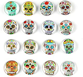 Colourful Skull Refrigerator Magnet Party Set of 16 Pack 3D Round Face For Silver Fridge Office Dry Erase Board Stainless Steel Door Freezer Whiteboard Cabinet Magnetic Great Fun for Ad