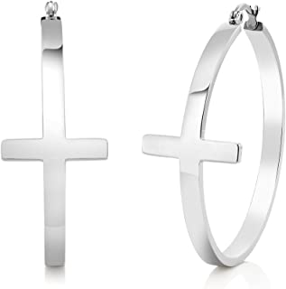 Gem Stone King 1.75 Inch Stainless Steel Silver Cross Hoop Earrings (45mm Diameter)