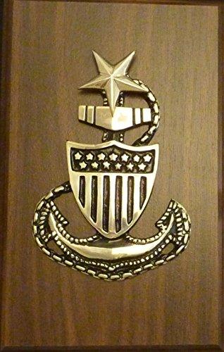USCG Coast Guard Military Solid Brass Senior Chief E8 Anchor Emblem on Plaque 7 x 11
