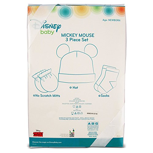 Disney Baby Boys Mickey Mouse 3 Piece Take Me Home Set: 3D Ear Hat, Socks and Mitten (0-3m)