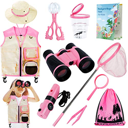 INNOCHEER Explorer Kit & Bug Catcher Kit for Kids Outdoor Exploration with Vest, hat, Binocular, Telescopic Butterfly Net, Magnifying Glass, Whistle and Bugs Book for Boys Girls 3-12 Years Old (Pink)