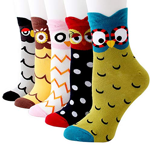 Hirsch & Insel Lustige Socken Damen Bunte Socken Mädchen Kreative Socken mit Eule Katzen Hunde Geschenkideen Eule (5 Paare) One Size für 35-42