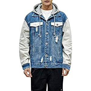 Men's Casual Ripped Removable Hood Denim Trucker Jacket Coat