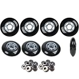 Player's Choice Inline Skate Wheels Hilo Set 76mm 80mm 82A Black Outdoor Hockey -ABEC 5 Bearings