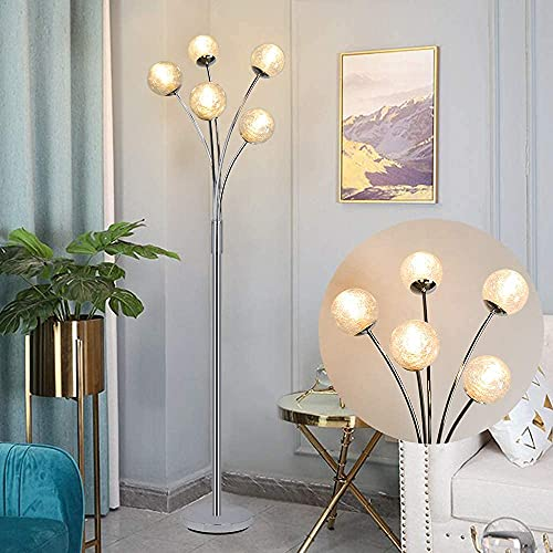 Depuley Modern Art Deco 5 Head LED Standing Floor lamp, Reading Floor Light with Glass Ball lamp Shade, Simple Led Floor Light for Living Room, Bedside,Reading(5*5w G9 Bulbs are not Including)