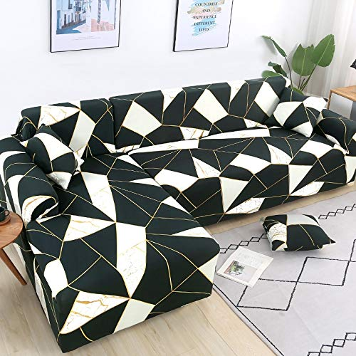 Fundas de sofá elásticas para Sala de Estar Funda de sofá geométrica Funda de sofá para Mascotas Esquina en Forma de L Chaise Longue Funda para sofá A25 2 plazas