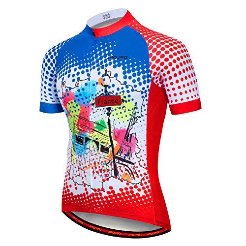 Maillot de ciclismo para hombre, manga corta, transpirable, cómodo de secado rápido -  -  (pecho 104/110 cm/cintura 66/90 cm) etiqueta XL