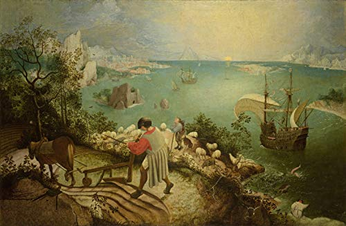 Landscape with the Fall of Icarus Island of Crete Greek Mythology 1555 Painting by Pieter Bruegel the Elder 16' X 24' Image Size Print Repro on Matte Paper