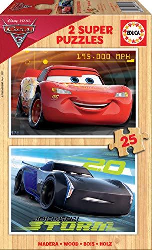 Educa - Cars 3 2 Puzzles x 25 Piezas, Multicolor (17173)
