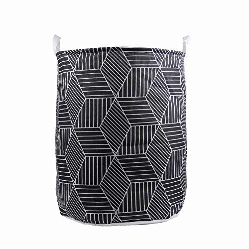 Ynport Crefreak Cesta de lavandería de algodón , plegable de tela, bolsa de ropa plegable, cubo de lavado, cordón impermeable, redondo, de lino y plegable, cesta de almacenamiento plegable