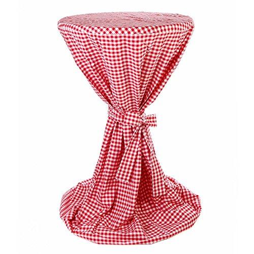 Hans-Textil-Shop Stehtischhusse 80-85 cm Karo 1x1 cm Rot Baumwolle