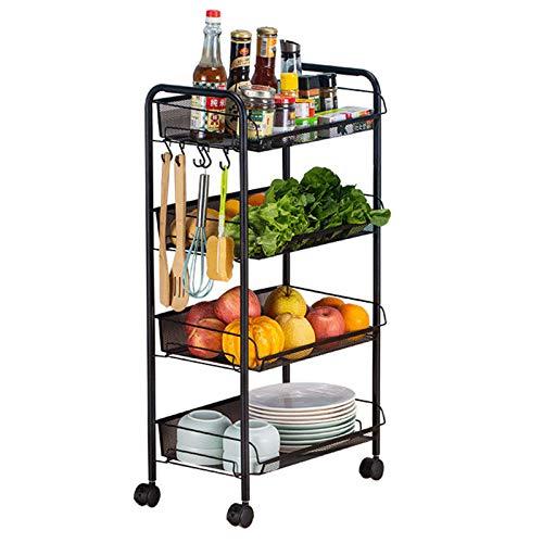 DHHZRKJ Küchenbar Bar Servierwagen, 4-stufiges Multifunktions-Rollregal, Organisationsrahmen mit Metallrahmen und Haken für Restaurantbedarf