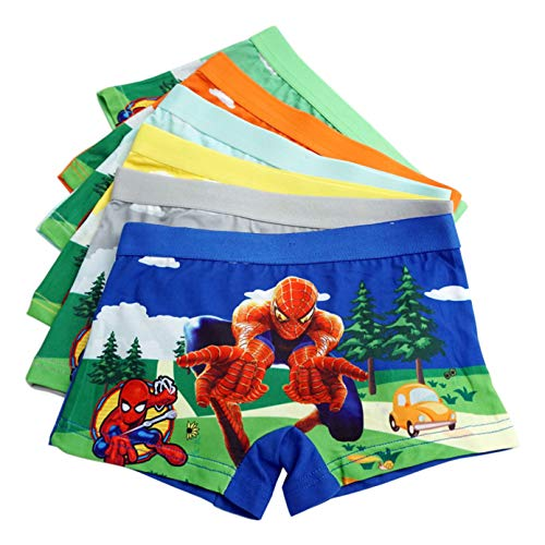 LEMONBABY Little Girls' Unicorn Assorted Boxer Briefs (Pack of 5) (5-7Y, Spider Man)