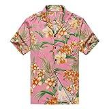 Hecho en Hawaii Camisa Hawaiana de los Hombres Camisa Hawaiana 3XL Floral Naranja con Hojas...