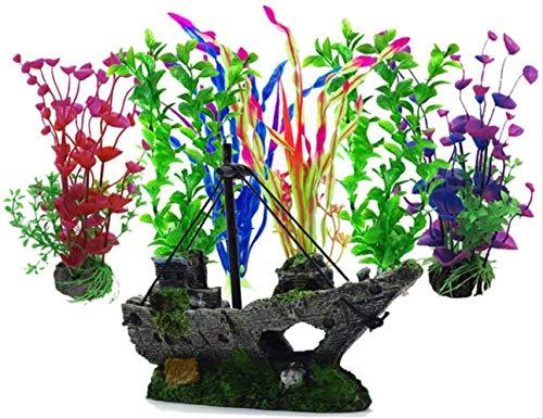 BEARUN Künstliche Wasserpflanzen, Aquarienpflanzen, künstliche Fischtanks, dekoriert mit Harz und Plastikornamenten, künstliche Plastikpflanzen des Aquariums zur Dekoration der Aquarienlandschaft
