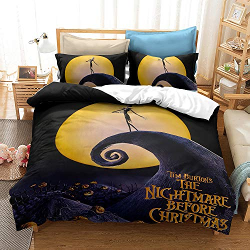 Enhome Duvet Cover Bedding Set for Single Double King Size Bed, 3D Halloween Skull Print Microfiber Duvet Set Quilt Case with Pillowcases (The Nightmare Before Christmas-3,135x200cm)
