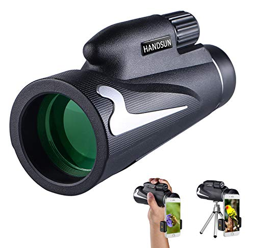 Handsun 12X50 High Power Prism Monocular and Quick Smartphone Holder - Waterproof Fog- Proof Shockproof Scope -BAK4 Prism FMC for Bird Watching Hunting Camping Travelling Wildlife Secenery