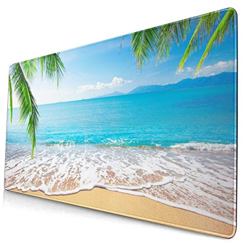 Palm and Tropical Beach Design Pattern XXL XL Large Gaming Mouse Pad Mat Long Extended Mousepad Desk Pad Non-Slip Rubber Mice Pads Stitched Edges (29.5x15.7x0.12 Inch)