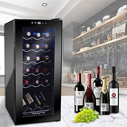 Display4top-Temperature-control-Weinkhlschrank-untersttzt-18-Flaschen-Tr-aus-gehrtetem-Glas-Drawer-chrome-wine-rack-53-L