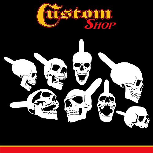 Custom Shop Airbrush Stencil Skull Design Set #9 (8 Different Mini Skull Designs) - 8 Laser Cut Reusable Templates - Auto, Motorcycle Graphic Art