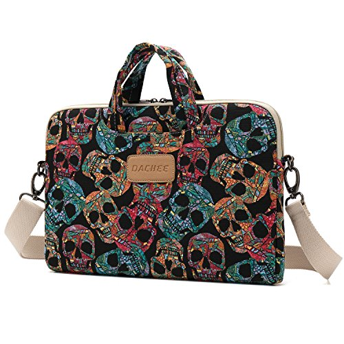 DACHEE Skull Canvas Laptop Shoulder Bag Case 15.6 Inch