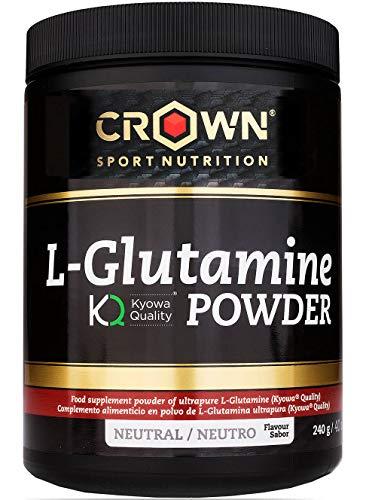Crown Sport Nutrition L- Glutamina de calidad Kyowa®, Suplemento para deportistas, Polvo sabor Neutro - 240 gr